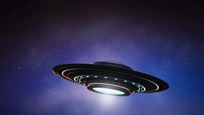 UFO in the dark sky