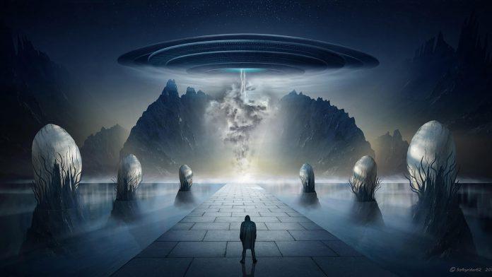 alien silhouette UFO